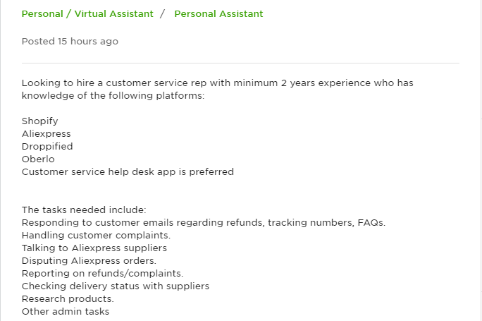 ECommerce Virtual Assistant jobs